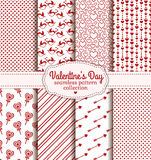 Happy Valentine's Day! Set of love and romantic seamless pattern. Happy Valentine's Day! Set of love and romantic backgrounds. Collection of seamless patterns stock illustration