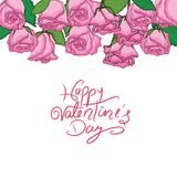 Happy valentine's day with set of pink roses. Group of roses hanging on top Stock Photos