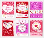 Happy Valentine`s Day set poster, invitation, greeting card, background. St. Valentine`s Day collection template for. Your design with space for text, hearts Royalty Free Stock Photo