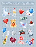 Happy Valentine`s Day! Set of Valentine`s Day stickers with cute cartoon characters. Vector illustrati. Set of Valentine`s Day stickers with cute cartoon Royalty Free Stock Photo