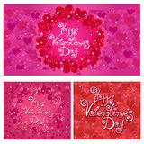 Happy Valentine`s Day. Set of vector cards with hearts pattern Stock Image
