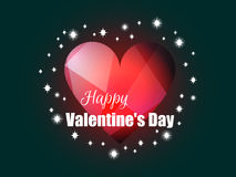 Happy Valentine`s Day. Shining heart with rays of light. Romantic background. Vector Royalty Free Stock Photography
