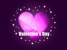 Happy Valentine`s Day. Shining heart with rays of light. Romantic background. Vector Stock Photos