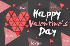 Happy Valentine's Day Simple Card - Dark. Background Stock Photos