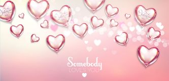 Happy Valentine`s Day Soft Background with Flying Glossy and Shining Hearts, Blur Background and Bokeh Effect. Vector illustratio. Happy Valentine`s Day Soft Vector Illustration