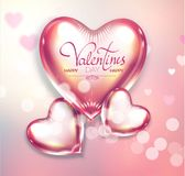 Happy Valentine`s Day Soft Background with Flying Glossy and Shining Hearts, Blur Background and Bokeh Effect. Vector illustratio. Happy Valentine`s Day Soft Stock Illustration