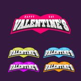 Happy valentine\'s day sport style emblem with heart fo t-shirt p. Rint Stock Images