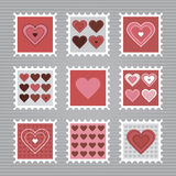 Happy Valentine's Day stamps Stock Images