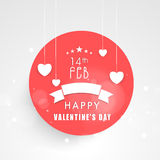 Happy Valentines Day sticker or label with heart. Stock Photography