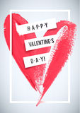 HAPPY VALENTINE'S DAY. Stroke heart and white border greeting card. Royalty Free Stock Images