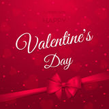Happy Valentine's day. Vector stylish holiday banner with text, hearts, bow and ribbon. Stock Photo