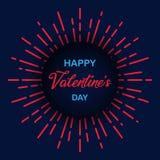 Happy Valentine`s Day. Sunburst vintage circle texture. Romantic black blue wallpaper. Retro design elements. Vector illustration. EPS 10 Stock Photography