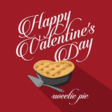 Happy Valentine's Day Sweet Pie flat design Royalty Free Stock Photos