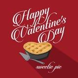 Happy Valentine's Day Sweet Pie flat design Royalty Free Stock Photos