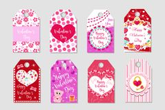 Happy Valentine`s Day tags set. Labels collection with heart, cute love symbol, romance. Holiday card background Stock Image