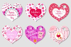 Happy Valentine`s Day tags set in the shape of a heart. Labels collection with cute love symbol, romance. Holiday card stock illustration