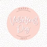 Happy Valentine`s Day design. Happy Valentine`s Day. Tender greeting card with a handwritten calligraphy. Vector illustration Royalty Free Stock Image