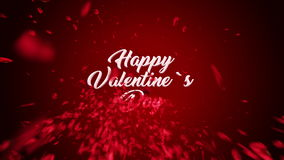 Happy Valentine`s Day Text animation, made of rose petals.  stock video footage