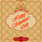 Happy Valentine's Day text with arabesques patterns as background Royalty Free Stock Image