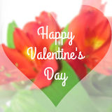 Happy Valentine's Day Text on Blurred Background with orchid Flower Royalty Free Stock Photos