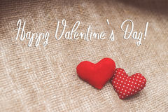 Happy Valentine`s day text on canvas. Background for Valentine`s day Royalty Free Stock Image