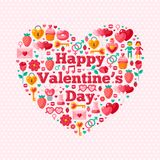 Happy Valentine's Day Text Concept with Flat Royalty Free Stock Photography