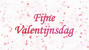 Happy Valentine's Day text in Dutch Fijne Valentijnsdag formed from dust and turns to dust horizontally on light background stock video footage
