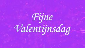 Happy Valentine's Day text in Dutch Fijne Valentijnsdag formed from dust and turns to dust horizontally on purple background stock video