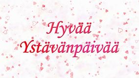 Happy Valentine's Day text in Dutch Hyvaa Ystavanpaivaa formed from dust and turns to dust horizontally on light background stock footage