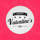 Happy valentine's day text. Elegant lettering with round frame. Pink textured background or backdrop. Royalty Free Stock Images