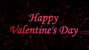 Happy Valentine's Day text formed from dust and turns to dust horizontally on dark background stock footage