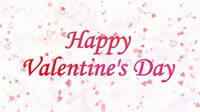 Happy Valentine's Day text formed from dust and turns to dust horizontally on light background stock video footage
