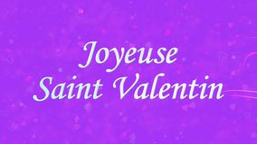 Happy Valentine's Day text in French Joyeuse Saint Valentin formed from dust and turns to dust horizontally on purple background stock video footage
