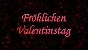 Happy Valentine's Day text in German Frohlichen Valentinstag on dark background Royalty Free Stock Photography