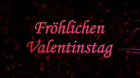 Happy Valentine's Day text in German Frohlichen Valentinstag formed from dust and turns to dust horizontally on dark background stock video footage