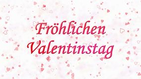 Happy Valentine's Day text in German Frohlichen Valentinstag formed from dust and turns to dust horizontally on light background stock video