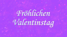 Happy Valentine's Day text in German Frohlichen Valentinstag on purple background Royalty Free Stock Photos