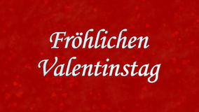 Happy Valentine's Day text in German Frohlichen Valentinstag on red background Stock Image