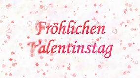 Happy Valentine's Day text in German Frohlichen Valentinstag turns to dust from left on light background Stock Photography