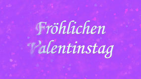Happy Valentine's Day text in German Frohlichen Valentinstag turns to dust from left on purple background Stock Photos