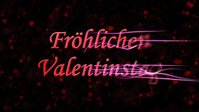 Happy Valentine's Day text in German Frohlichen Valentinstag turns to dust from right on dark background Stock Photos