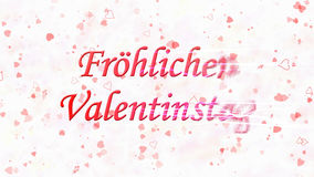 Happy Valentine's Day text in German Frohlichen Valentinstag turns to dust from right on light background Royalty Free Stock Images