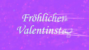 Happy Valentine's Day text in German Frohlichen Valentinstag turns to dust from right on purple background Royalty Free Stock Photography