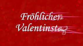 Happy Valentine's Day text in German Frohlichen Valentinstag turns to dust from right on red background Stock Image
