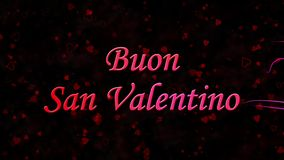Happy Valentine's Day text in Italian Buon San Valentino formed from dust and turns to dust horizontally on dark background stock video
