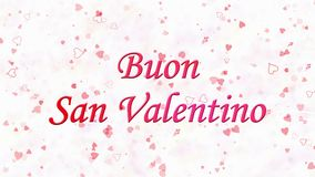 Happy Valentine's Day text in Italian Buon San Valentino formed from dust and turns to dust horizontally on light background stock video