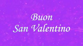Happy Valentine's Day text in Italian Buon San Valentino formed from dust and turns to dust horizontally on purple background stock video footage