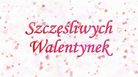 Happy Valentine's Day text in Polish Szczesliwych Walentynek formed from dust and turns to dust horizontally stock video footage
