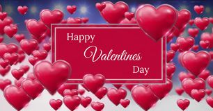 Happy Valentine`s Day text and Shiny bubbly Valentines hearts with purple misty background and light Stock Photos