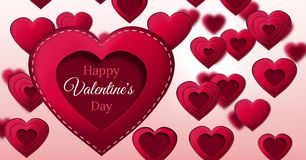 Happy Valentine`s Day text and Stitched Valentines Heart Stock Photo